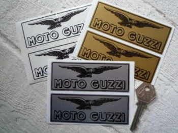 "Moto Guzzi Eagle & Text Oblong Stickers. 4"" Pair."