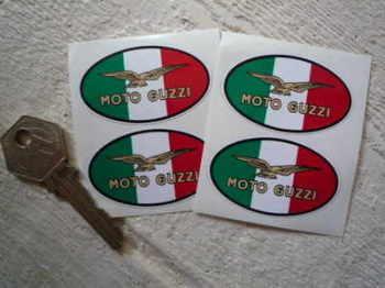"""Moto Guzzi Eagle Tricolore Oval Stickers. Set of 4. 2""""."""