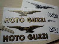 Moto Guzzi Text & Soaring Eagle Cut to Shape Stickers. 3
