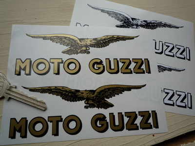 Moto Guzzi Text & Soaring Eagle Cut to Shape Stickers. 4