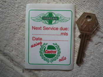 "Morgan 'Using Castrol Oils' Service Sticker. 2.75""."