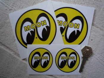 "Moon Circular Yellow, Black & White Stickers. 2.5"" or 4"" Pair."
