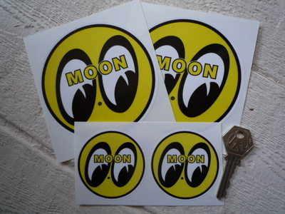 Moon Circular Yellow, Black & White Stickers. 2.5
