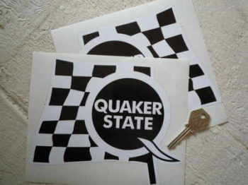 "Quaker State Black & White 'Q' Chequered Flag Stickers. 7"" Pair."