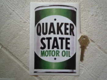 "Quaker State Oil Can Sticker. 6.5""."