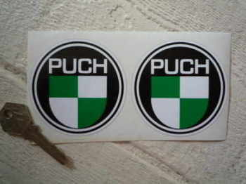 "Puch Logo Round Stickers. 2"" or 3"" Pair."