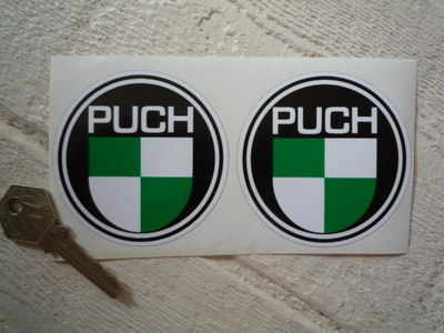"""Puch Logo Round Stickers. 2"""" or 3"""" Pair."""