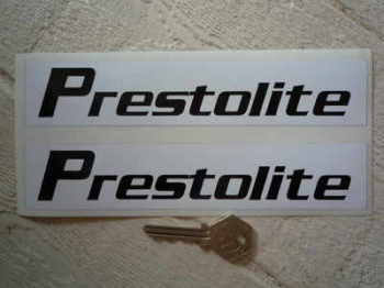 "Prestolite Black & White Oblong Stickers. 8"" or 12"" Pair."