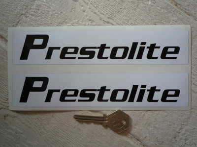 Prestolite Black & White Oblong Stickers. 8