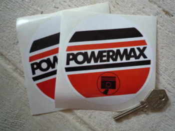 "Powermax Piston Rings Round Stickers. 4"" Pair."