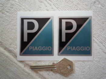 "Piaggio 'P' Rectangle Stickers. 2.5"" Pair."