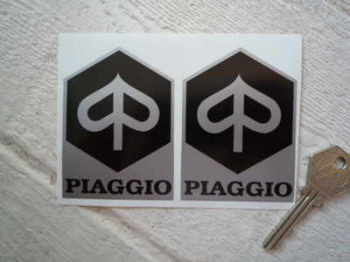 "Piaggio Black & Silver Shaped Stickers. 2"" or 3"" Pair."