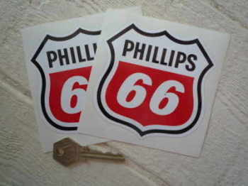 "Phillips 66 Shield Shaped Stickers. 4"" or 6"" Pair."