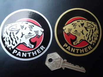 "Panther Round Stickers. 3"" Pair."