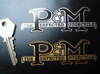 "Phelon & Moore 'The Perfected Motorcycle' Stickers. 4"" or 6"" Pair."