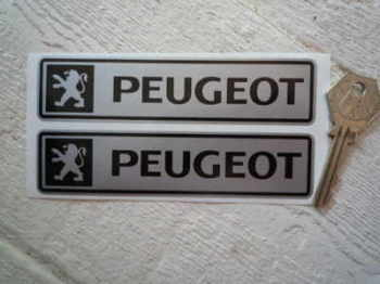 "Peugeot Black & Silver Oblong Stickers. 5"" Pair."
