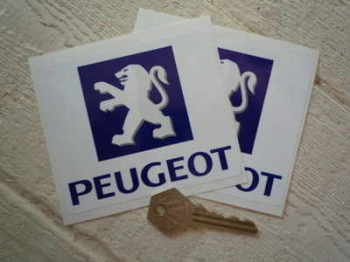 "Peugeot Logo Square Stickers. 4"" Pair."
