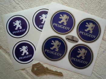 Peugeot Logo Wheel Centre Style Stickers. Set of 4. 50mm.