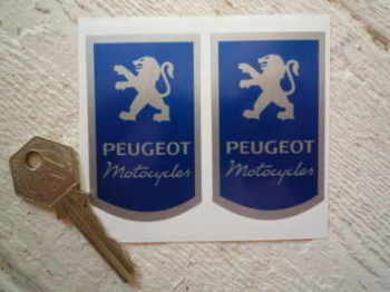 "Peugeot Motorcycle Blue & Silver Stickers. 1.5"" Pair."