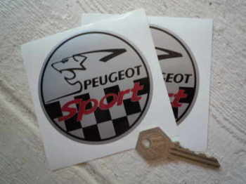 "Peugeot Sport Silver Round Stickers. 3.5"" Pair."