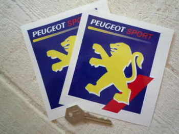 """Peugeot Sport Square Yellow Lion Stickers. 4"""" Pair."""