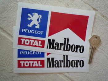 "Peugeot, Total & Marlboro Rally Stickers. 6"" Pair."