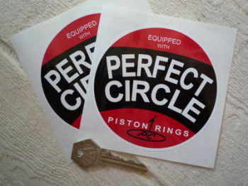 "Perfect Circle Piston Rings Round Stickers. 4"" or 6"" Pair."