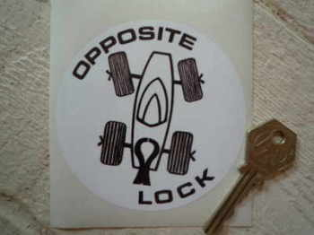 "Opposite Lock Round Sticker. 4.5""."