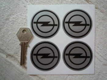 Opel Black & Silver Wheel Centre Style Stickers. Set of 4. 50mm.