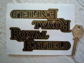 "Royal Enfield Black & Gold Joined Text Stickers. 5"" Pair."