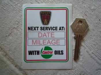 "Rover 'With Castrol Oils' Service Sticker. 3.5""."