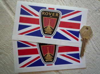 "Rover Union Jack Oblong Stickers. 5"" Pair."