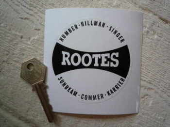 "Rootes Black & White Circle Sticker. 3""."