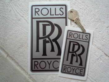 "Rolls Royce 'RR' Tall Oblong Stickers. 2"", 4"" or 6"" Pair."