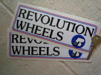 "Revolution Wheels Oblong Stickers. 8"" Pair."