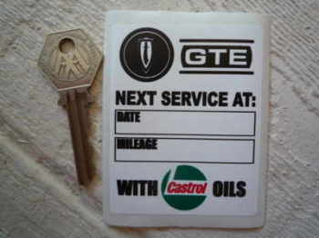 "Reliant Scimitar GTE & Castrol Oils Service Sticker. 3""."