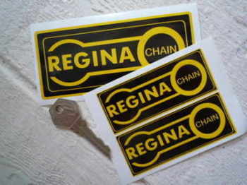 "Regina Chain. Black & Yellow Oblong Stickers. 3.5"" or 5"" Pair."