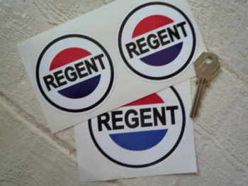 "Regent Petroleum Round Stickers. 3"" or 4"" Pair."