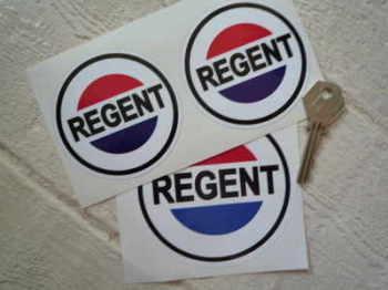 """Regent Petroleum Round Stickers. 3"""" or 4"""" Pair."""
