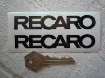 "Recaro Seats Black & Clear Stickers. 4"" Pair."