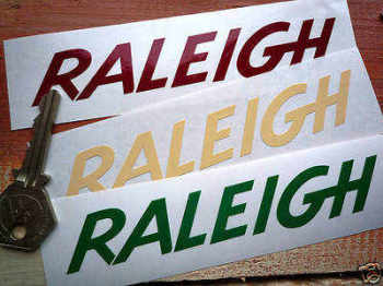 "Raleigh Cut Text Stickers. 4.5"", 5"" or 6"" Pair."