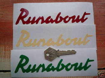"Raleigh Runabout Cut Text Stickers. 6"" Pair."