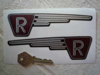 "Raleigh Runabout Shaped Handed Stickers. 6"" Pair."