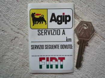 "Fiat & Agip Service Sticker. 3.25""."