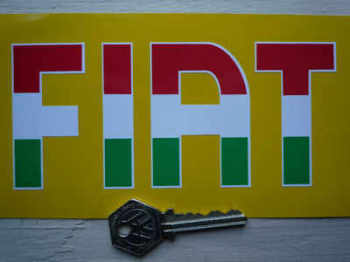 "Fiat Cut Text Tricolore Stickers. 6"" Pair."