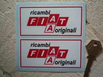"""Fiat. Ricambi Originali Stickers. 4"""" Pair."""