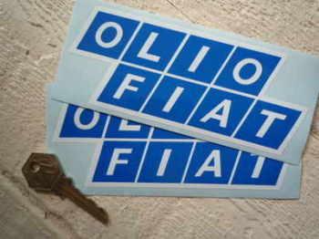"Olio Fiat Blue & White Stickers. 6"" Pair."