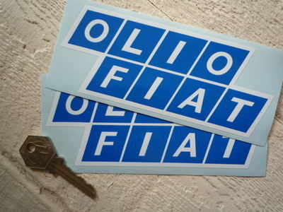 Olio Fiat Blue White Stickers 6 Pair