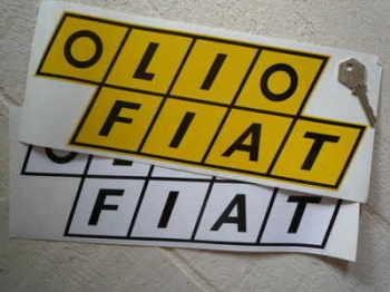 "Olio Fiat Sticker. 6"", 7"", 9"", or 12""."