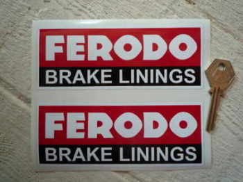 "Ferodo 'Brake Linings' Style 8 Oblong Stickers. 5.5"" Pair."